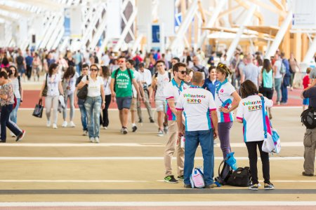 Photo for MILAN, ITALY - JUNE 01, 2015: People visiting Expo 2015. The theme of the Universal Exposition is Feeding the Planet, Energy for Life. - Royalty Free Image