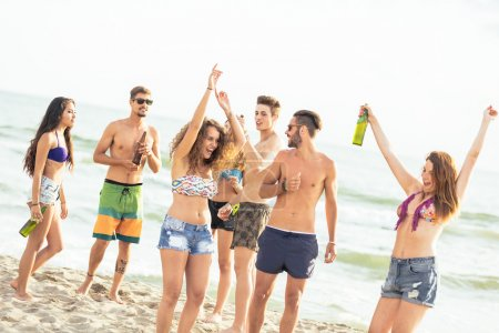 Multiracial group of friends having a party on the beach