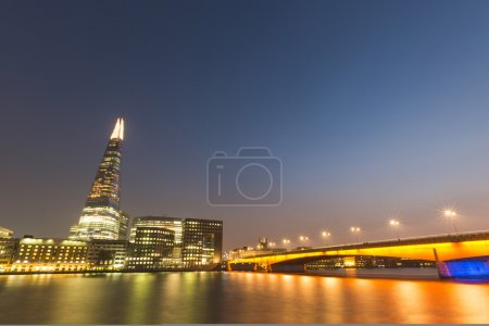 London cityscape at night, long exposure.
