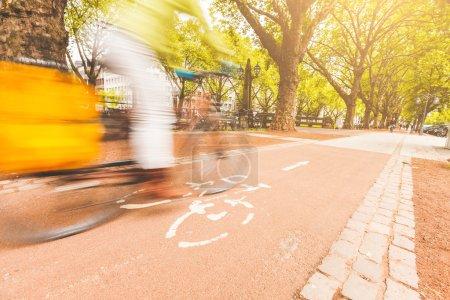 Photo pour Floue coureur cycliste sur piste cyclable à Dusseldorf. Vue d'angle faible avec cycliste allant de gauche à droite. Beaucoup d'arbres sur le fond. Durable au transport, des concepts de transport et mode de vie. - image libre de droit