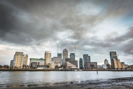 Panoramic view of London skyscrapers with a dramatic sky
