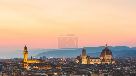 Florence, Italy, panoramic view at sunset