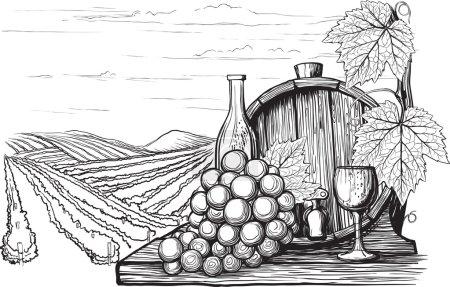 Illustration pour Paysage avec vue sur les vignobles, réservoirs pour le vin et les raisins. dans une méthode semblable à la gravure sur bois - image libre de droit