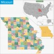 Map of Missouri state designed in illustration wit...