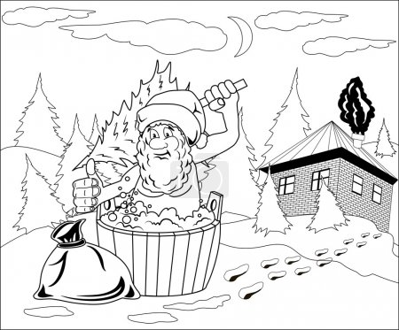 Santa Claus takes a bath