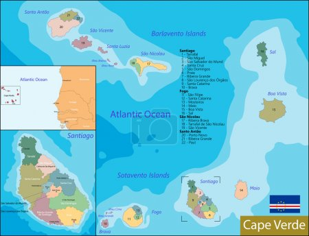 Illustration for Administrative division of the Republic of Cabo Verde - Royalty Free Image