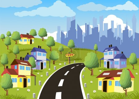 Illustration for Cartoon illustration of a city suburb with road to downtown - Royalty Free Image