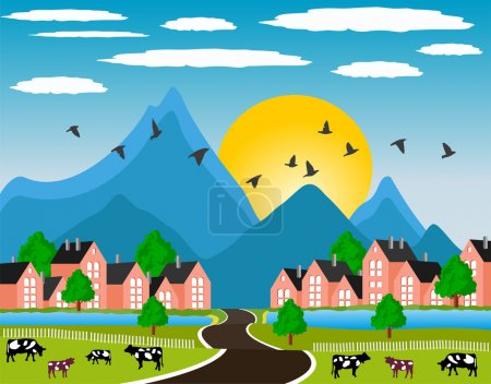 Illustration for Ilustration of a little town in a calm and tranquil environment in mountain - Royalty Free Image