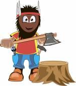 LumberJack Holding Axe Cartoon