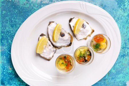 oysters plate  on white plate