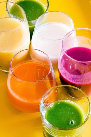 color detox smoothie in glasses