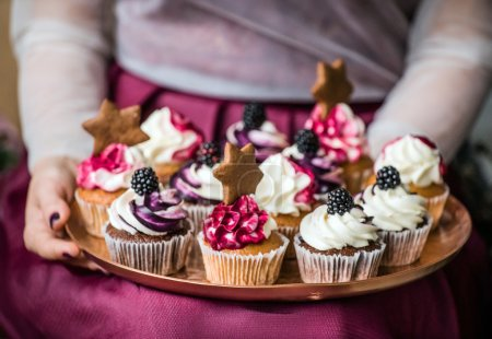 Christmas cupcakes on the tray