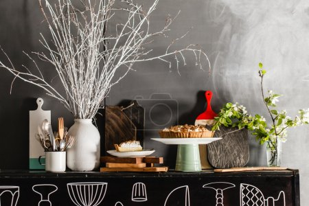 Photo for Lemon tart on stand on table with tableware - Royalty Free Image