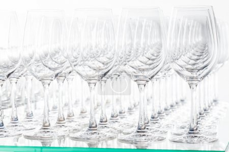 empty glasses in bar