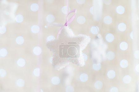 Decorative white hanging Christmas stars...