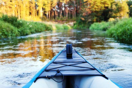 Photo for Kayak on small river - Royalty Free Image