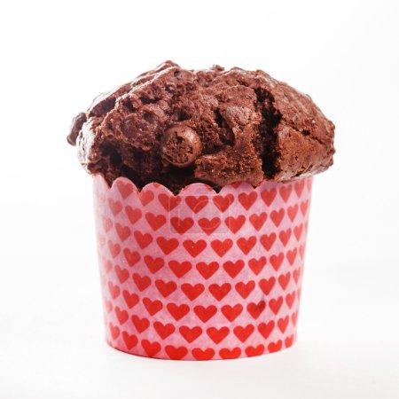 Chocolate muffin in wrapper