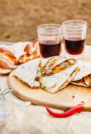 Grill tortillas and wine