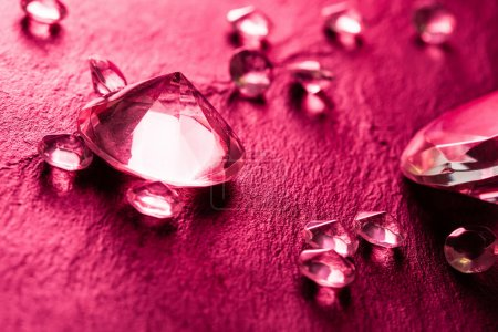 Different diamonds with red light