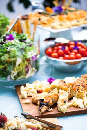 Photo for Celebration banquet table with canapes - Royalty Free Image