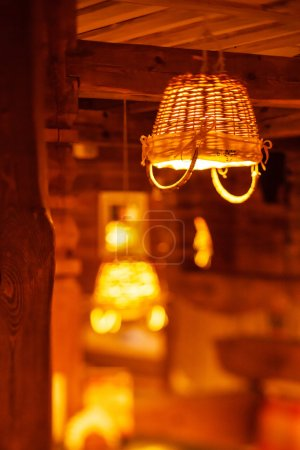 lamp in cozy cafe