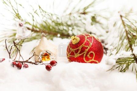 Christmas toys and fir tree