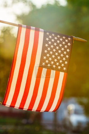 American flag in sunny weather outdoors