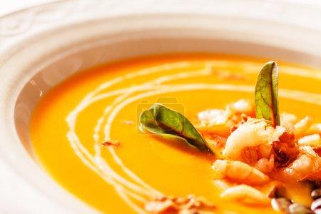 Pumpkin soup with shrimps