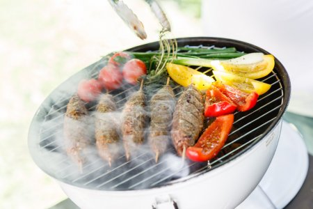 grilling kebabs with vegetables