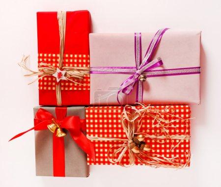 Photo pour Coffrets cadeaux de Noël, vue de dessus - image libre de droit