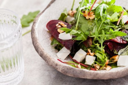 Beetroot salad with cheese and arugula