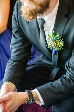 Photo for Elegant groom with floral boutonniere, close up - Royalty Free Image