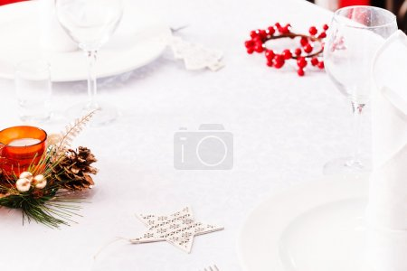 Christmas table with tableware