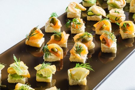 Photo for Tasty canapes appetizer  set - Royalty Free Image