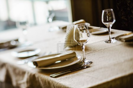 Photo for Restaurant dinner banquet set - Royalty Free Image