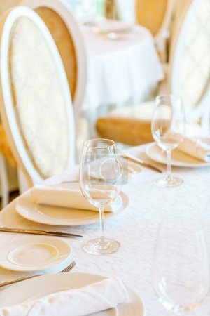 Photo for Beautiful table setting for banquet in restaurant, close up - Royalty Free Image