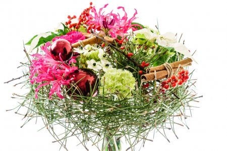 Photo pour Arrangement bouquet floral de Noël isolé sur fond blanc - image libre de droit