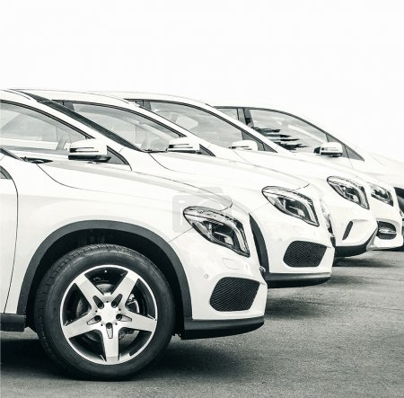 Illustration for Row of new cars in dealer center - Royalty Free Image
