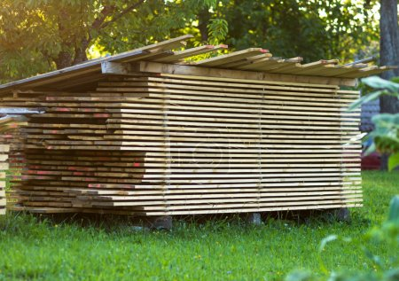 Pile of wooden planks