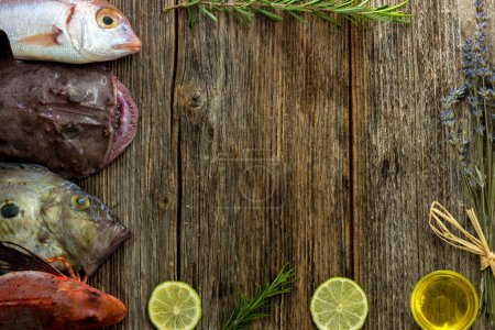 Fresh saltwater fish and vegetables