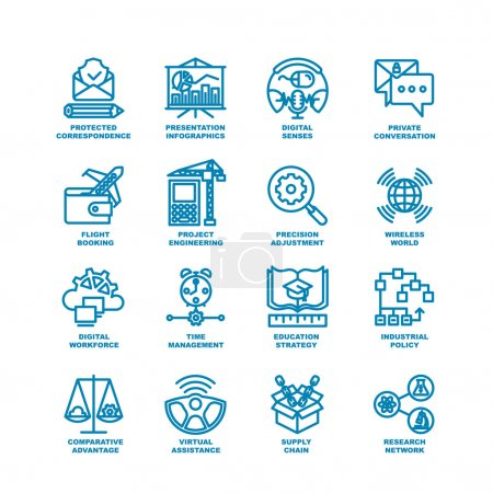 Illustration for Business Line Icons. Modern elements of Research network, supply chain, virtual assistance, industrial policy, education strategy, time management, digital workforce, project engineering - Royalty Free Image