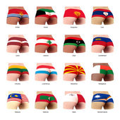 buttock with flag