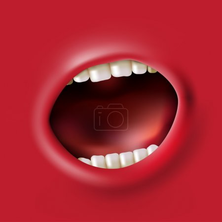 Illustration for Open red screaming mouth background - Royalty Free Image