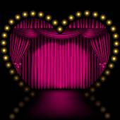 Heart shape stage with pink curtain and lights