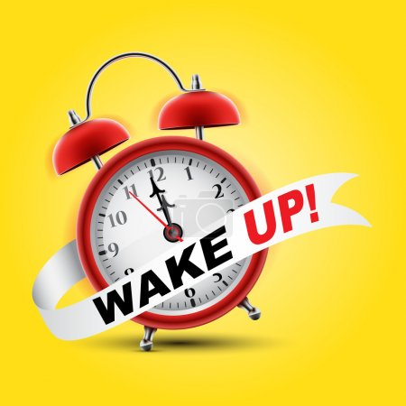 Illustration for Red alarm clock concept - Wake Up - Royalty Free Image