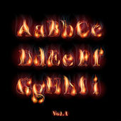 Fire Burning Latin Alphabet Letters Set Vol1 A-I