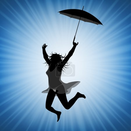 Illustration for Young jumping woman with umbrella having fun and being active - Royalty Free Image