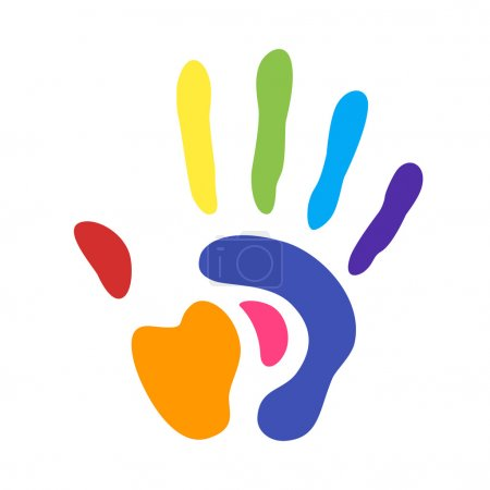 Illustration for Rainbow handprint. rainbow colors of a hand and fingers - Royalty Free Image
