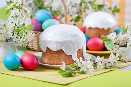 Easter cake, eggs, cherry blossoms