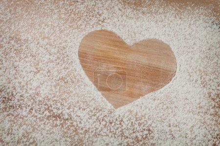 Heart of the flour on the table